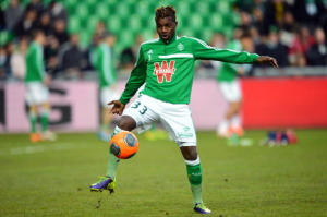 Allan Saint-Maximin in azione con la maglia del Saint-Etienne