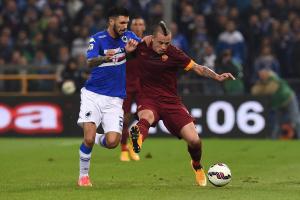 Un duello tra Soriano e Nainggolan nel match di andata tra Sampdoria e Roma