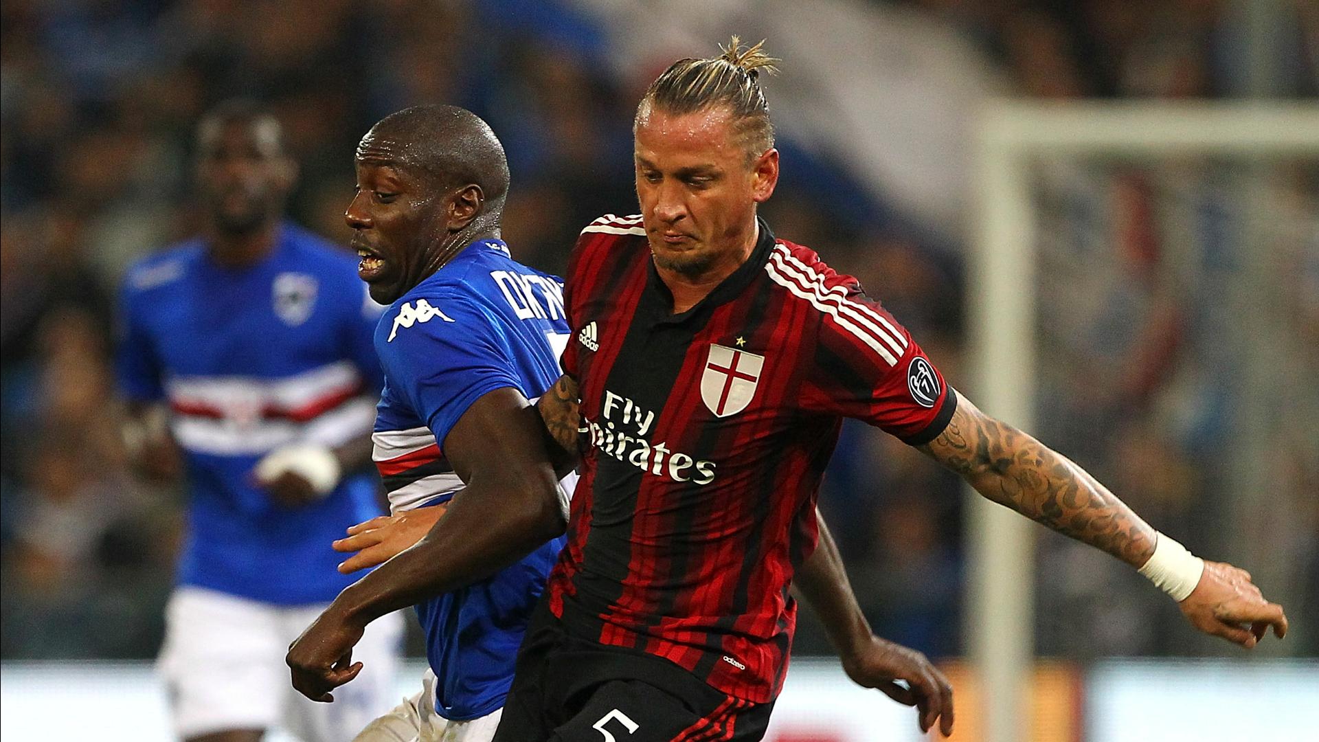 Okaka Mexes sarà uno dei duelli di questa sera in campo tra Milan e Sampdoria