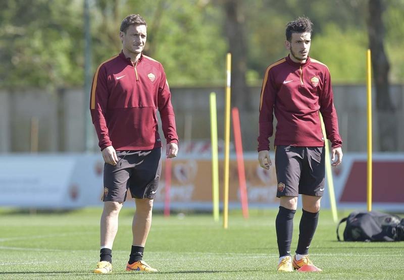 Totti e Florenzi in allenamento
