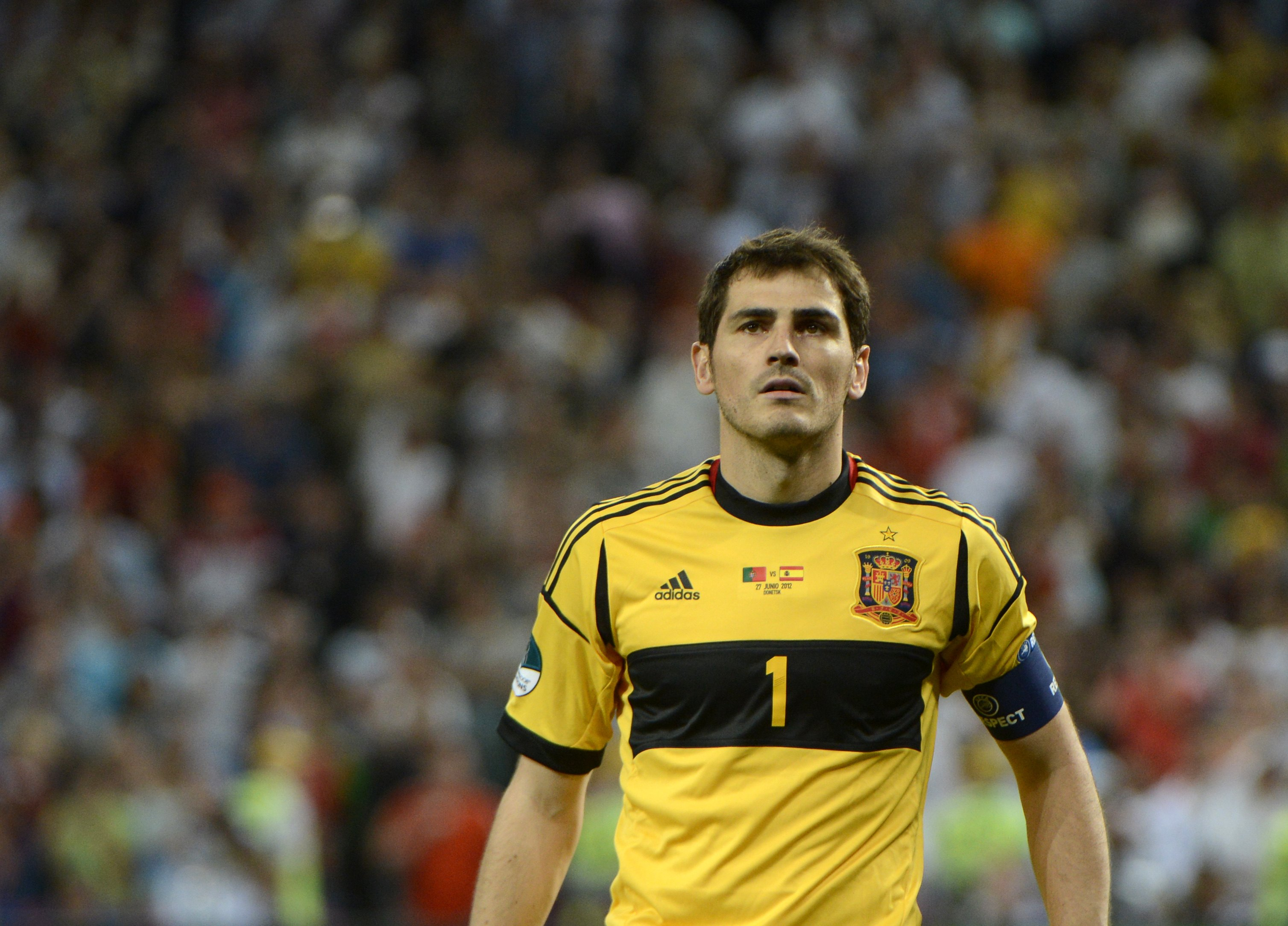 Spanish goalkeeper Iker Casillas walks t