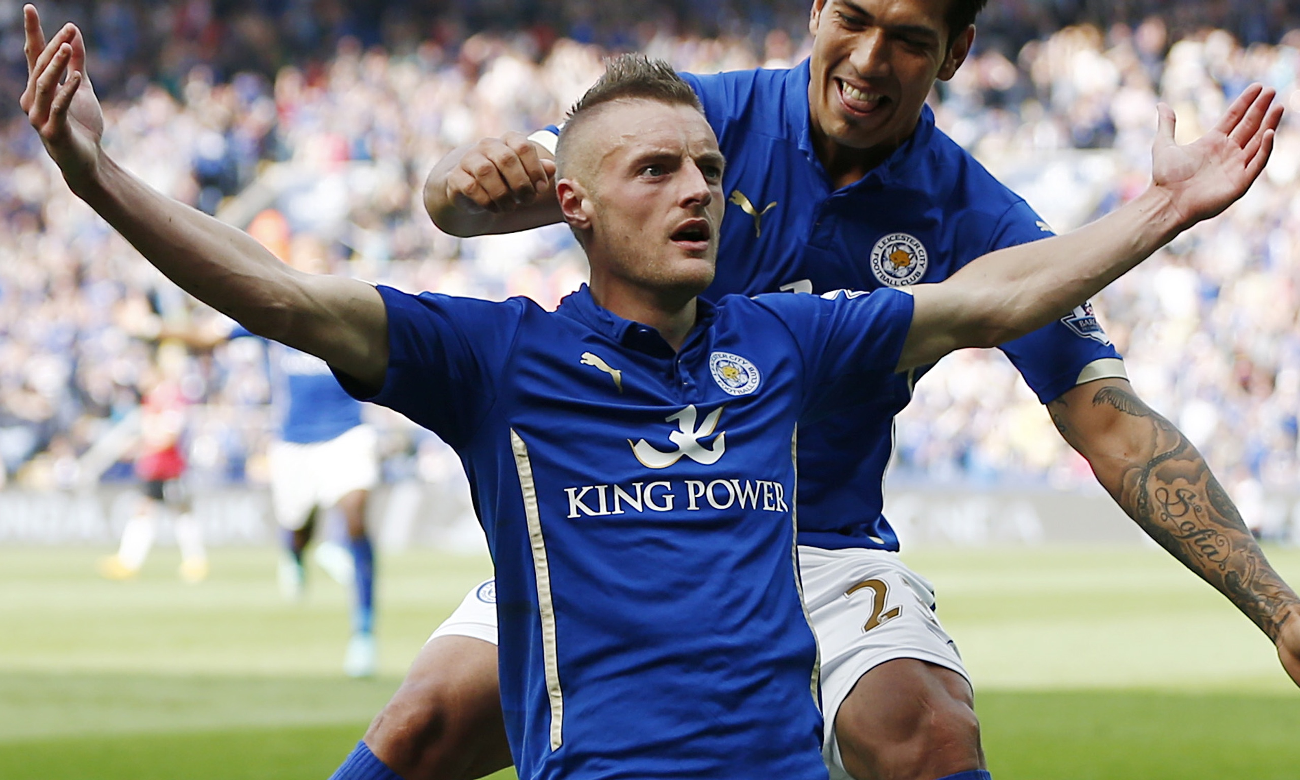 Jamie Vardy celebrates giving Leicester the lead with their fourth goal against Manchester United.