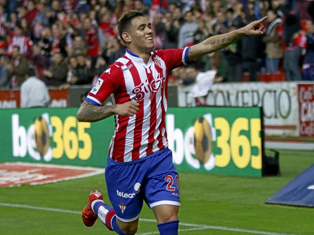 Spanish League match between Sporting Gijon and UD Las Palmas In this picture Sanabria celebrates