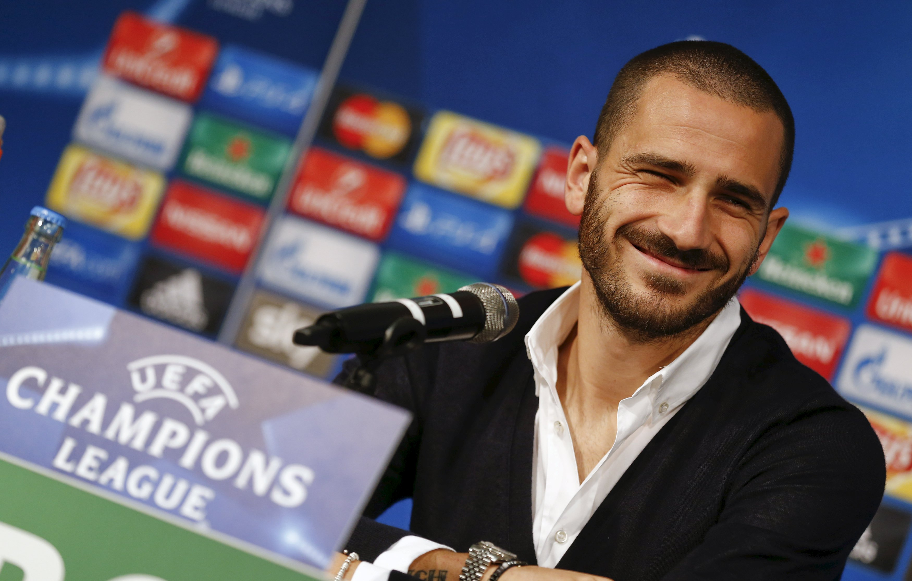 Juventus' Leonardo Bonucci addresses a news conference on the eve of their Champions League Group D soccer match against Borussia Moenchengladbach in Moenchengladbach