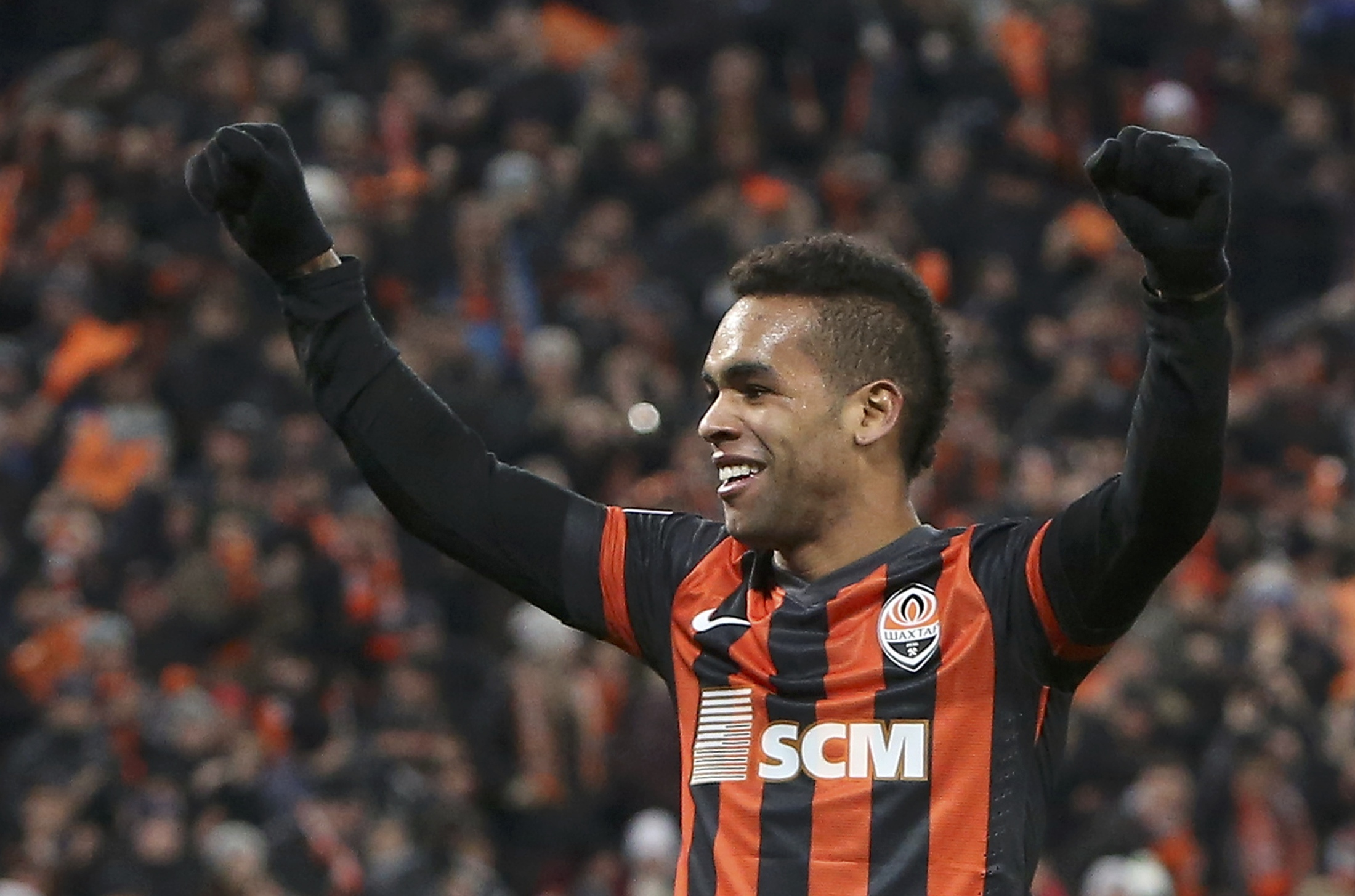 Shakhtar Donetsk's Alex Teixeira reacts during the Champions League soccer match against Real Sociedad at the Donbass Arena stadium in Donetsk