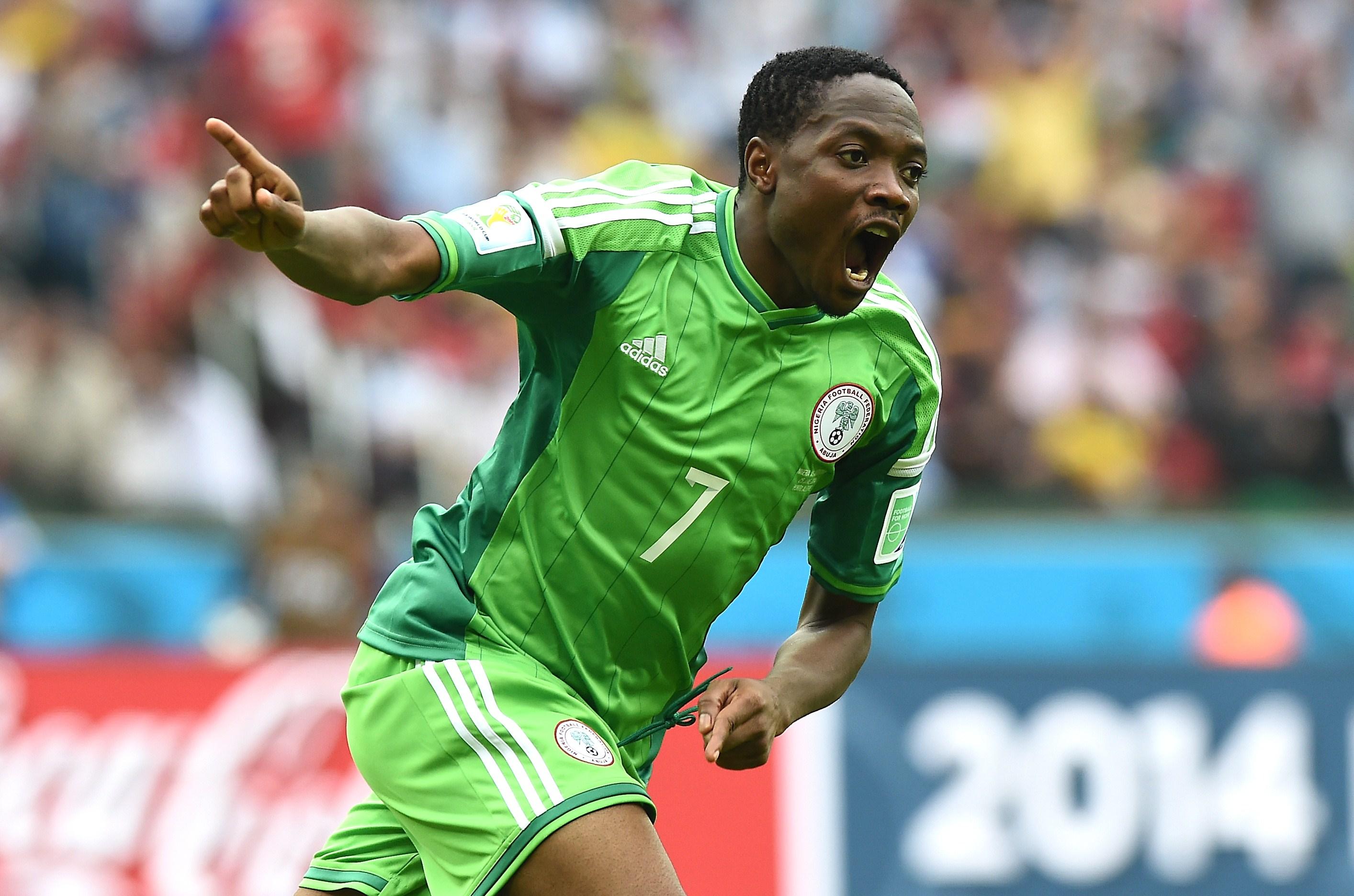 Nigeria's forward Ahmed Musa celebrates