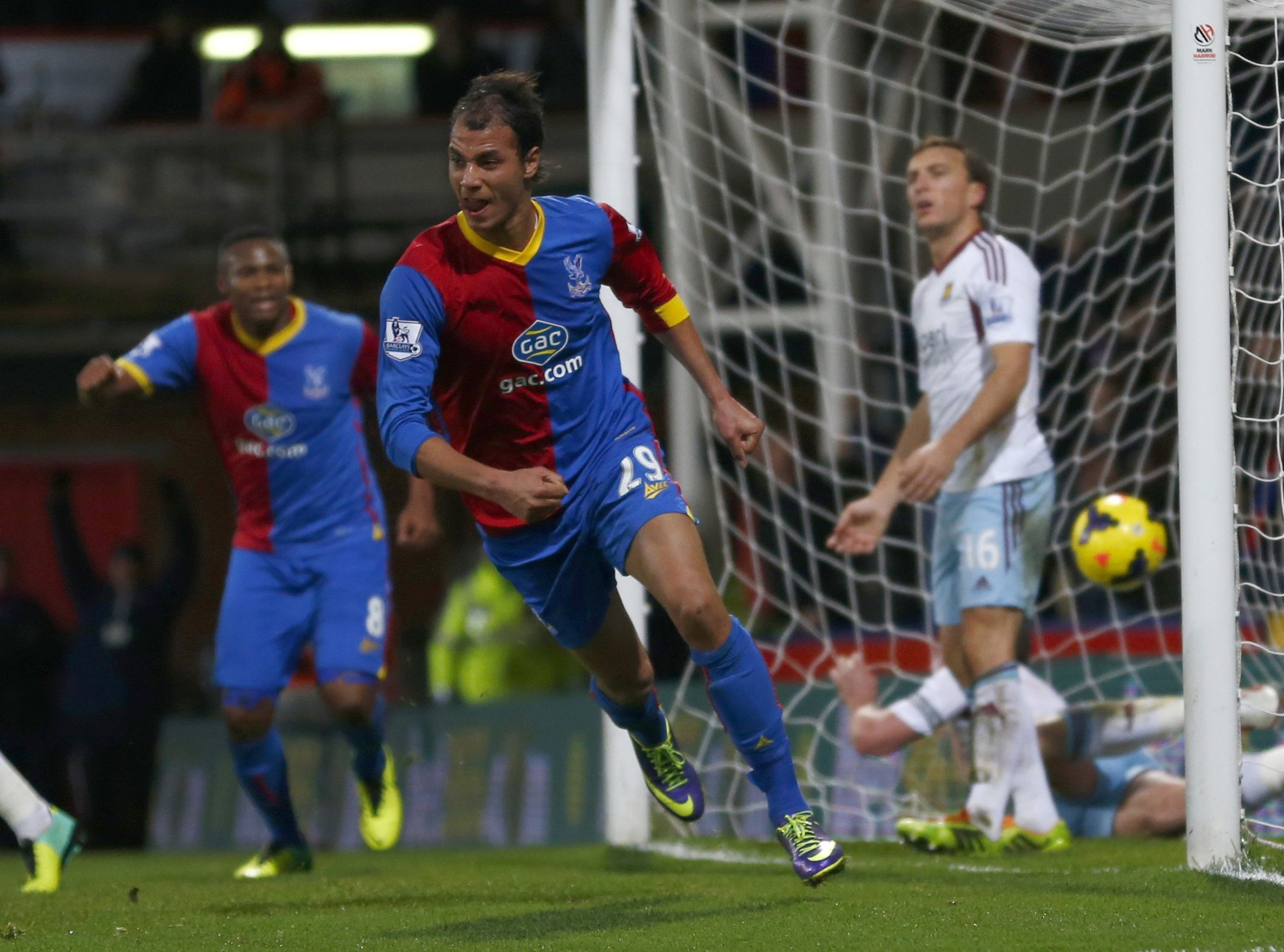 Crystal Palace's Chamakh scores a goal against West Ham during their English Premier League soccer match at Selhurst Park in London