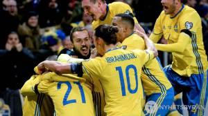 La compagine scandinava mentre celebra un gol