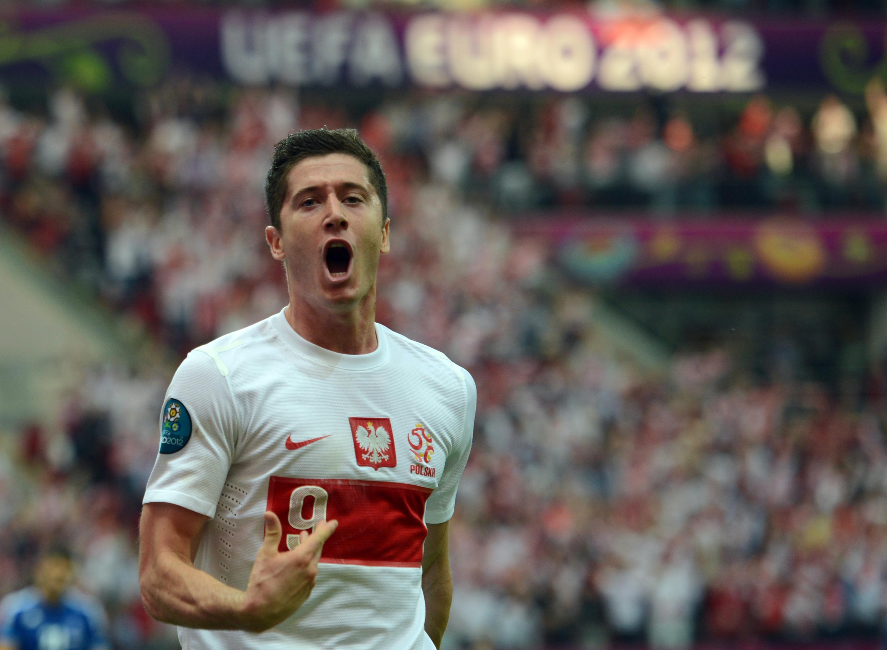 Polish forward Robert Lewandowski celebr
