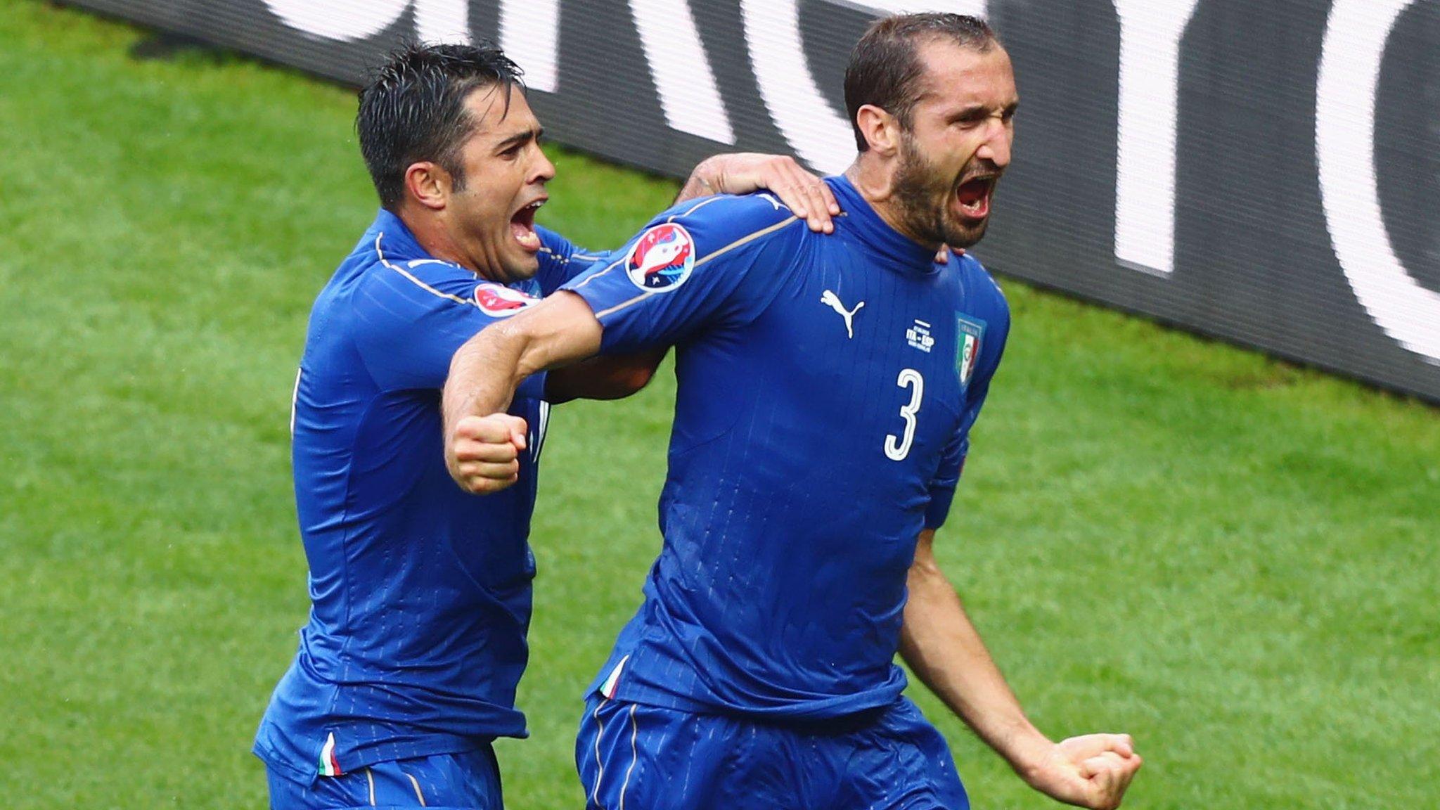 Gol Chiellini contro Spagna