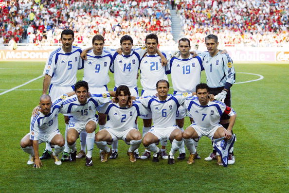 The Greek team pose for the press, 04 Ju