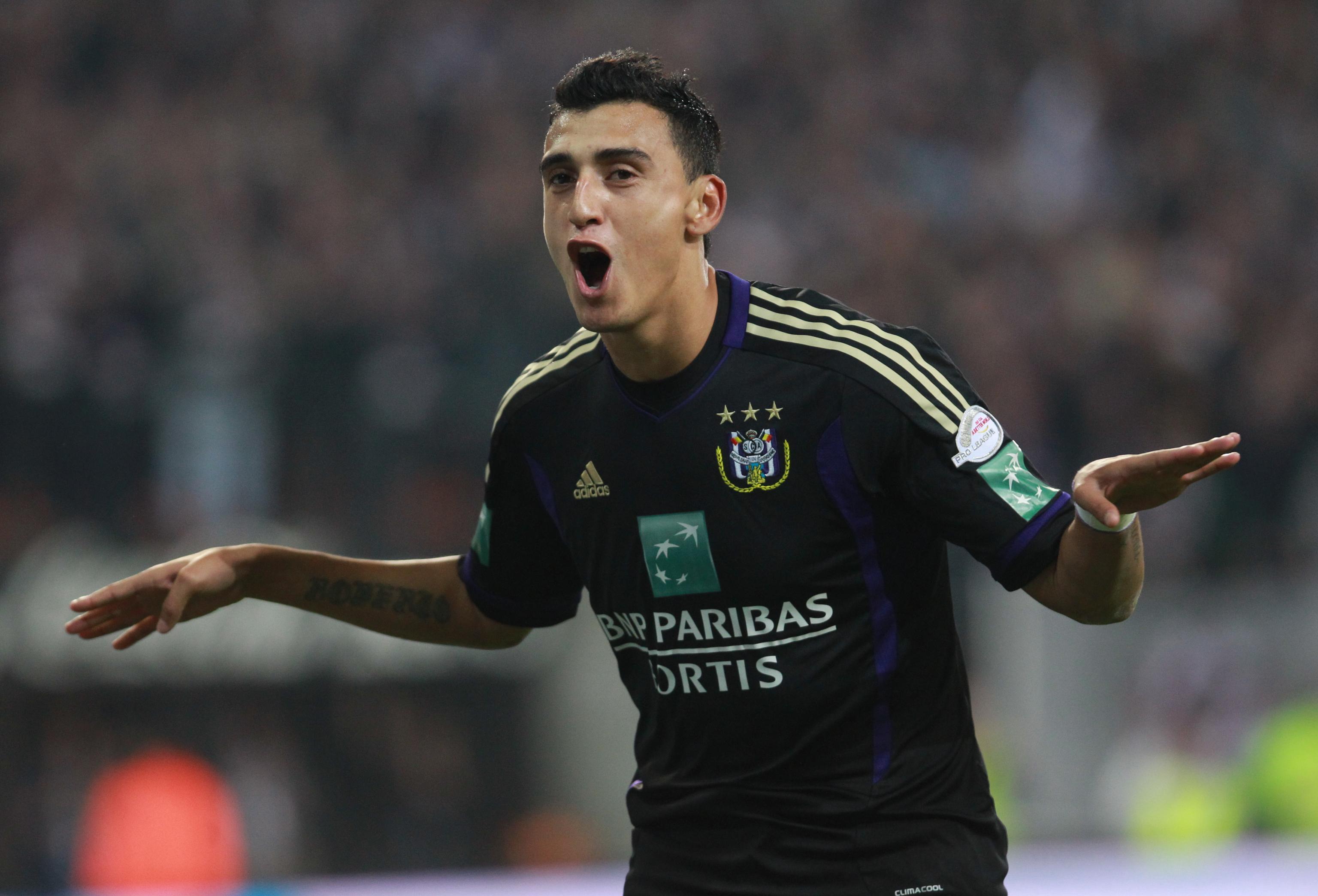 Anderlecht's  Matias Suarez celebrates a