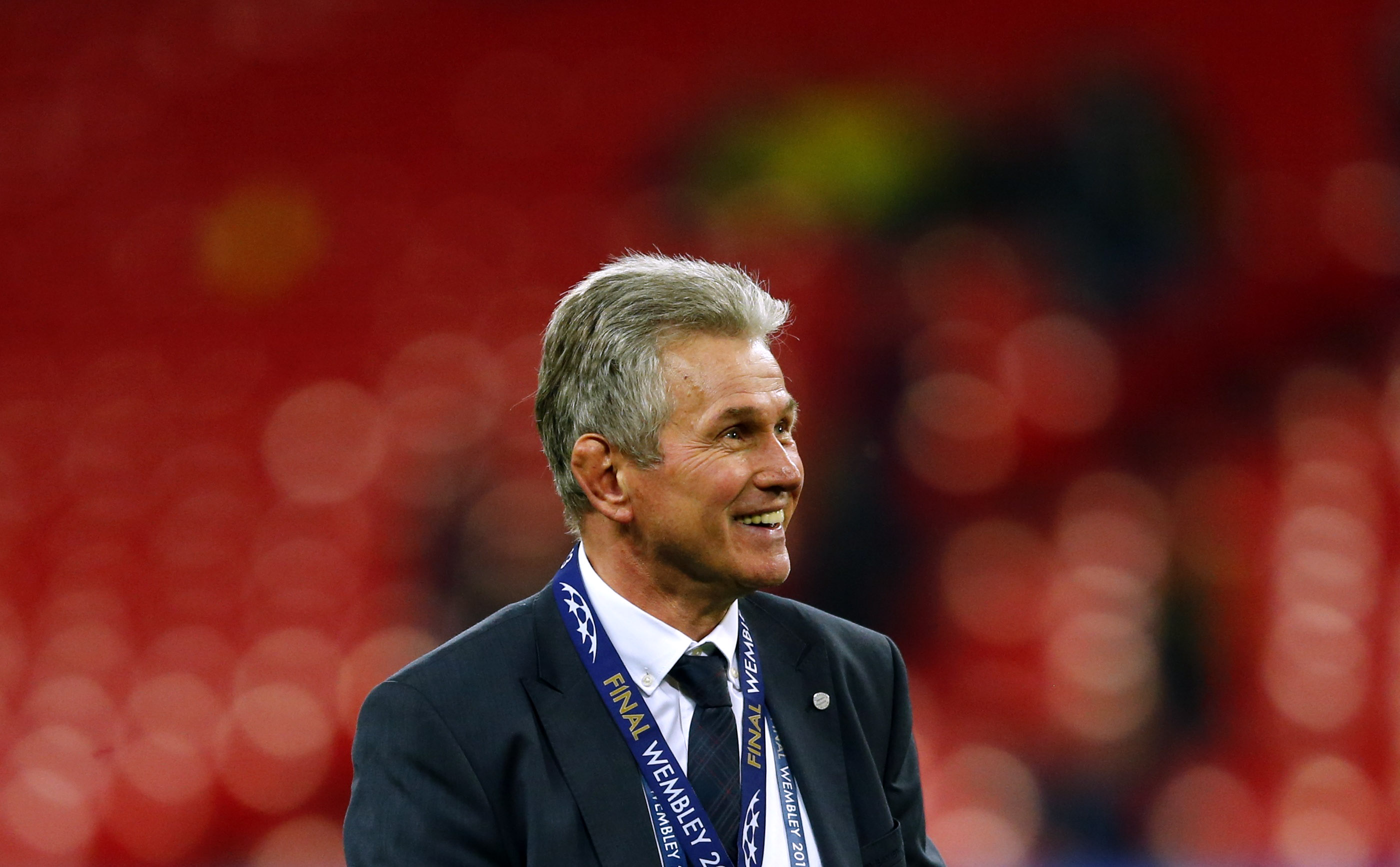 Bayern Munich's coach Heynckes celebrates after winning Champions League final soccer match against Borussia Dortmund in London