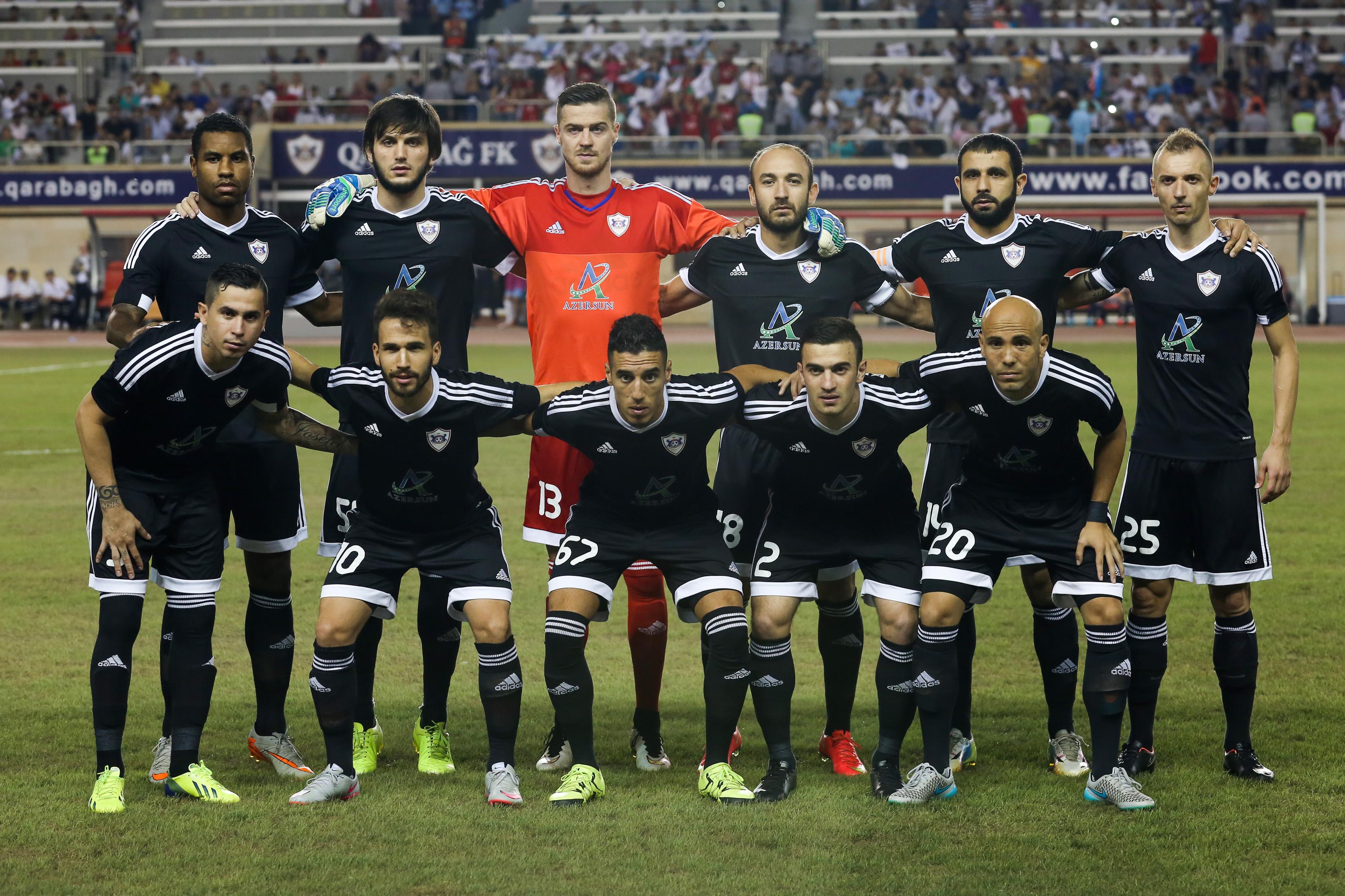 Qarabag FK team start the game  during the UEFA Champions