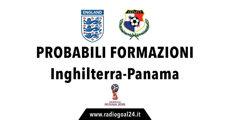 Inghilterra-Panama probabili formazioni