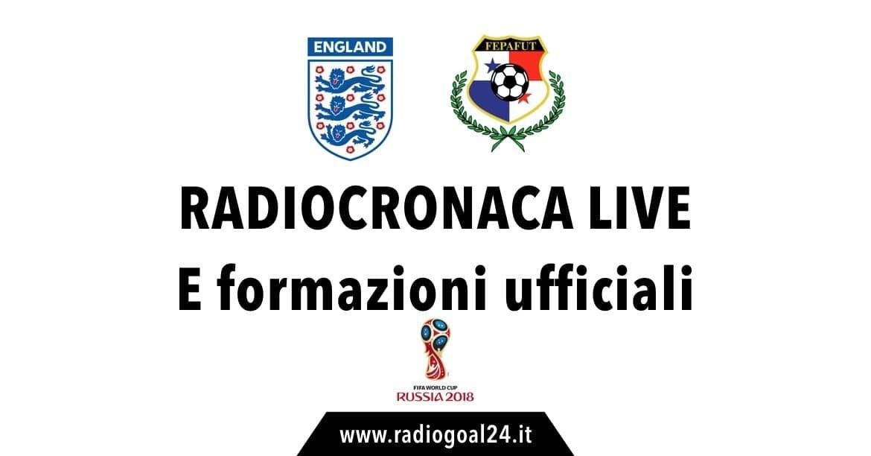 Inghilterra-Panama: formazioni ufficiali