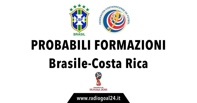 Brasile-Costa Rica probabili formazioni