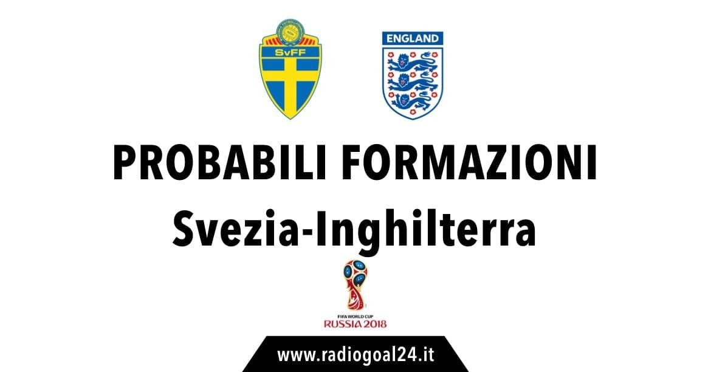 Svezia-Inghilterra probabili formazioni