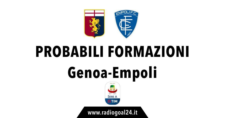 Genoa-Empoli probabili formazioni