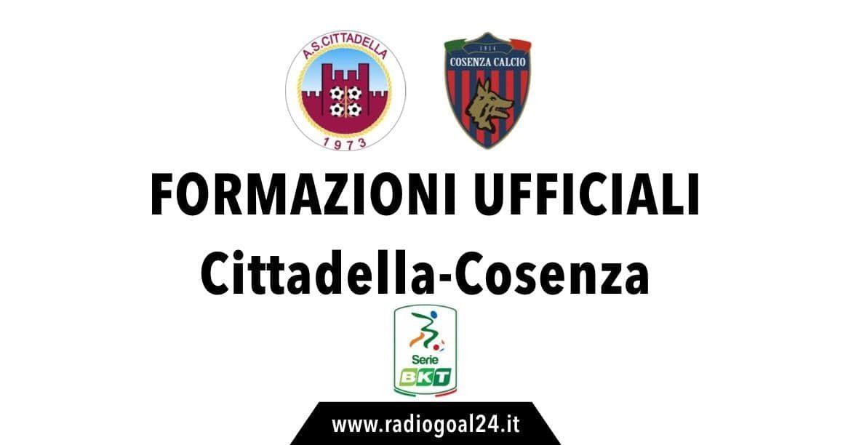 Cittadella-Cosenza, formazioni ufficiali