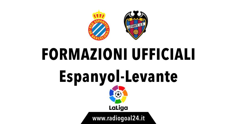 Espanyol-Levante formazioni ufficiali