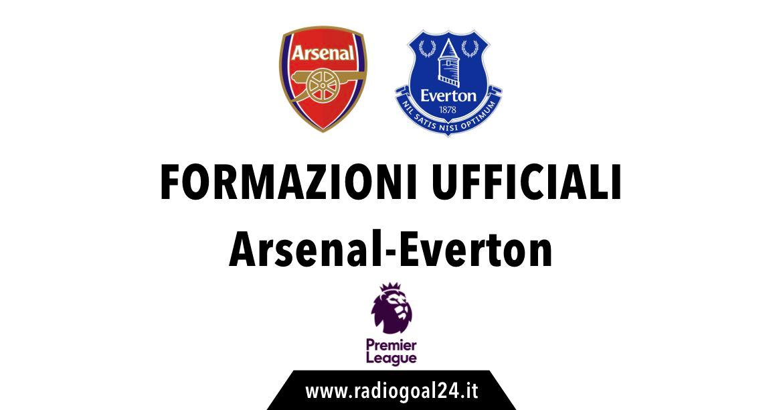 Arsenal-Everton formazioni ufficiali