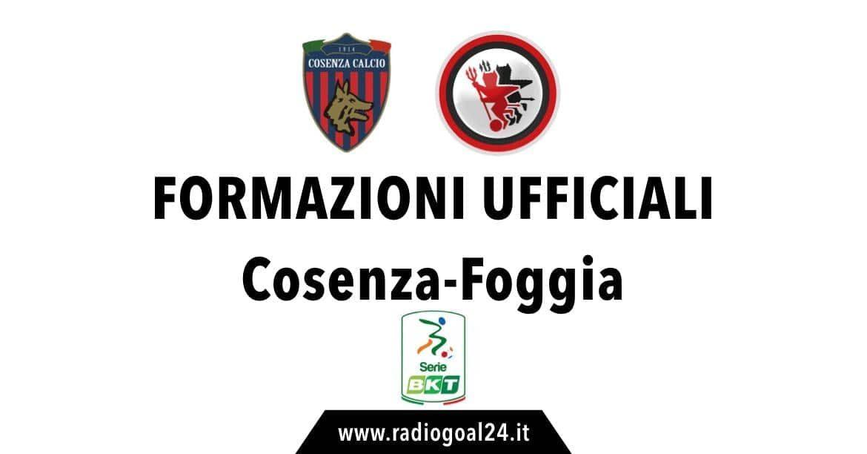 Cosenza-Foggia formazioni ufficiali