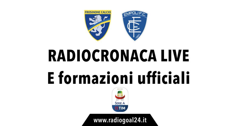 Frosinone-Empoli formazioni ufficiali