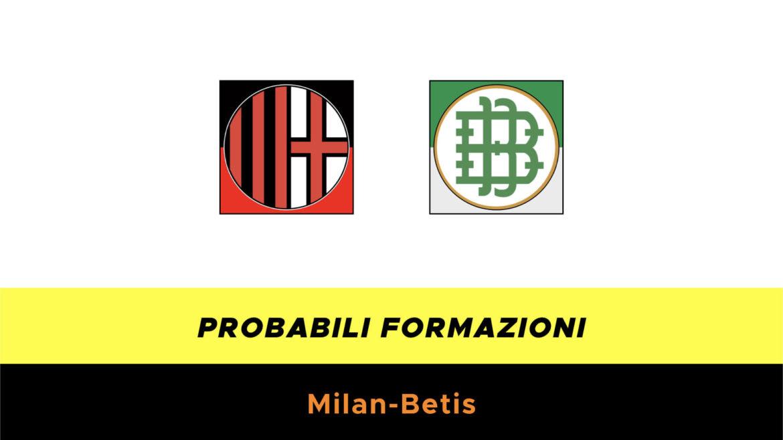 Milan-Betis probabili formazioni