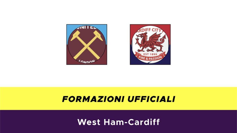 West Ham-Cardiff formazioni ufficiali