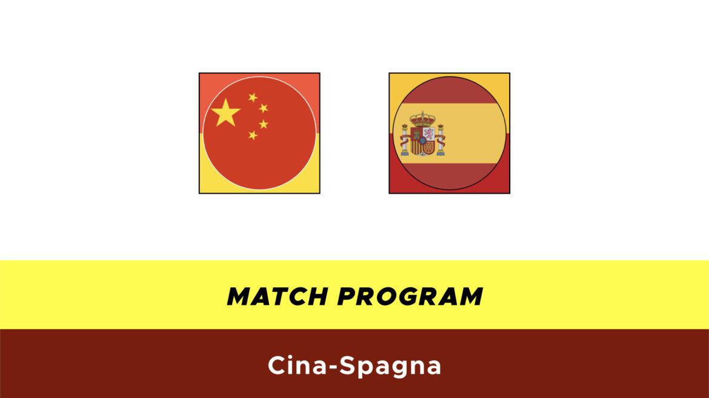 Cina-Spagna formazioni ufficiali