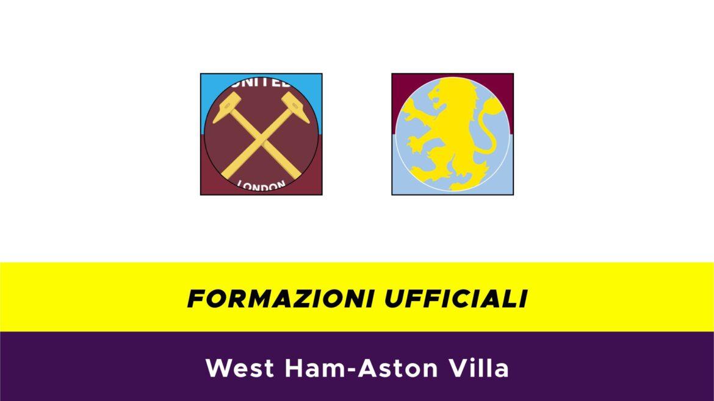 West Ham-Aston Villa formazioni ufficiali
