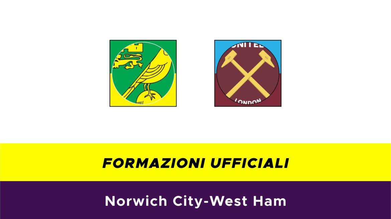 Norwich-West Ham formazioni ufficiali