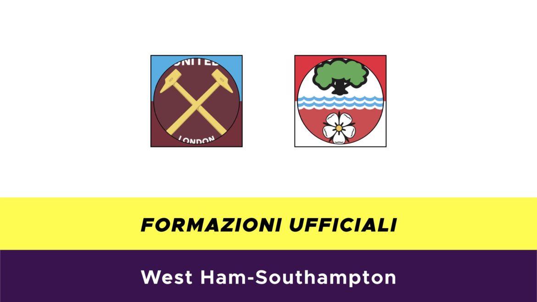 West Ham-Southampton formazioni ufficiali